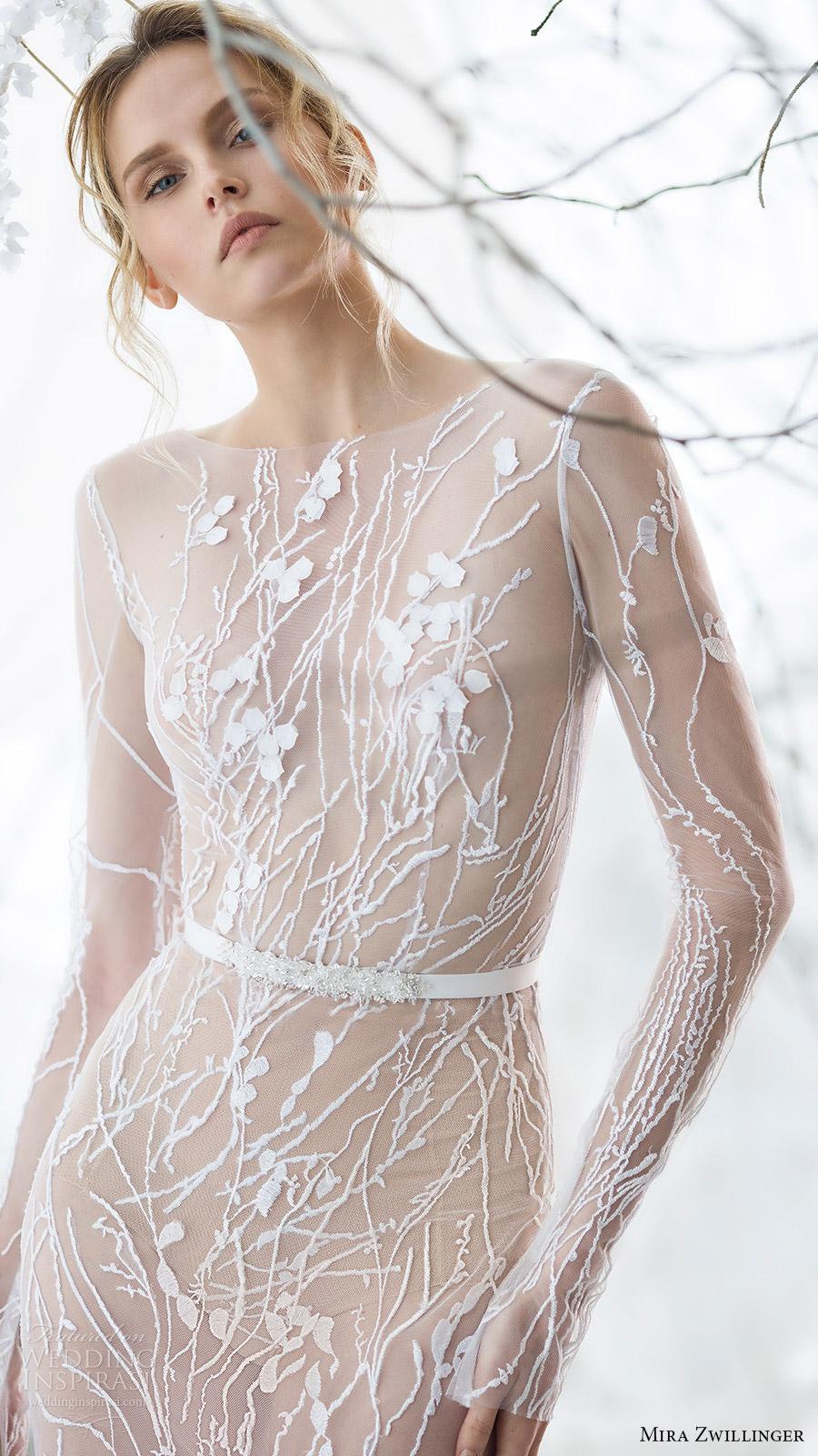 mira zwillinger bridal 2017 long sleeves jewel neck illusion bodice trumpet wedding dress (willow) zfv