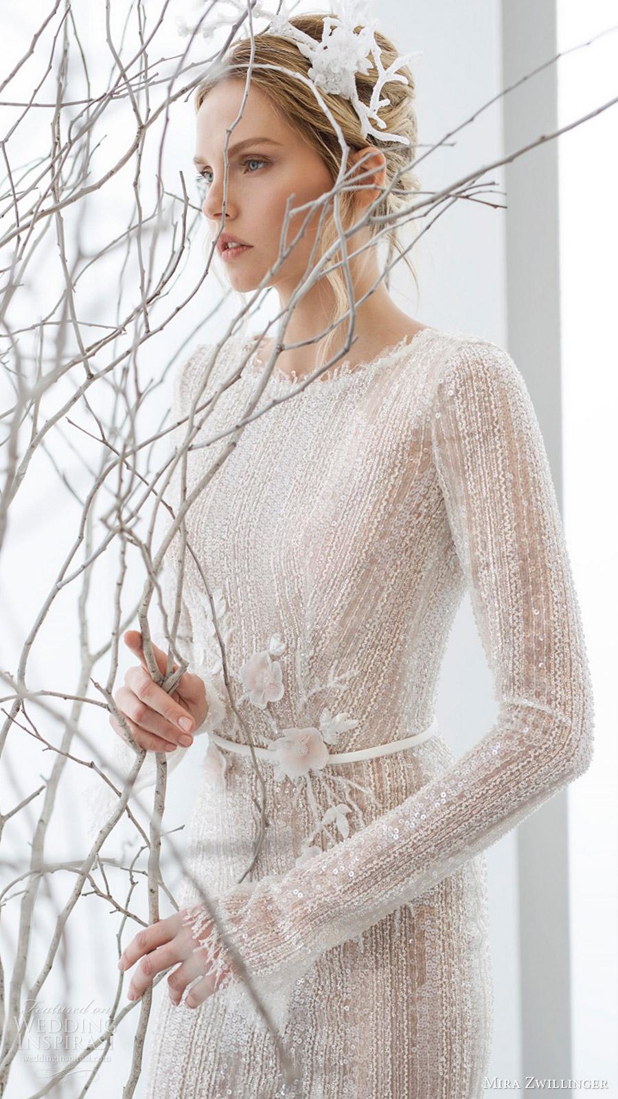 mira zwillinger bridal 2017 long sleeves jewel neck sheath wedding dress (elia) zfv
