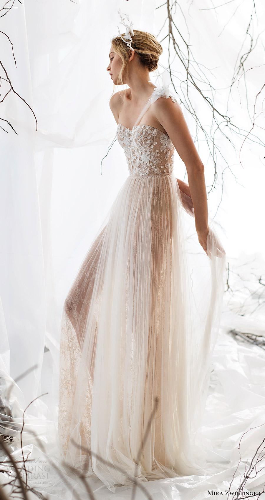 mira zwillinger bridal 2017 one shoulder strap sweetheart beaded bodice aline wedding dress (jasmine) fv nude color