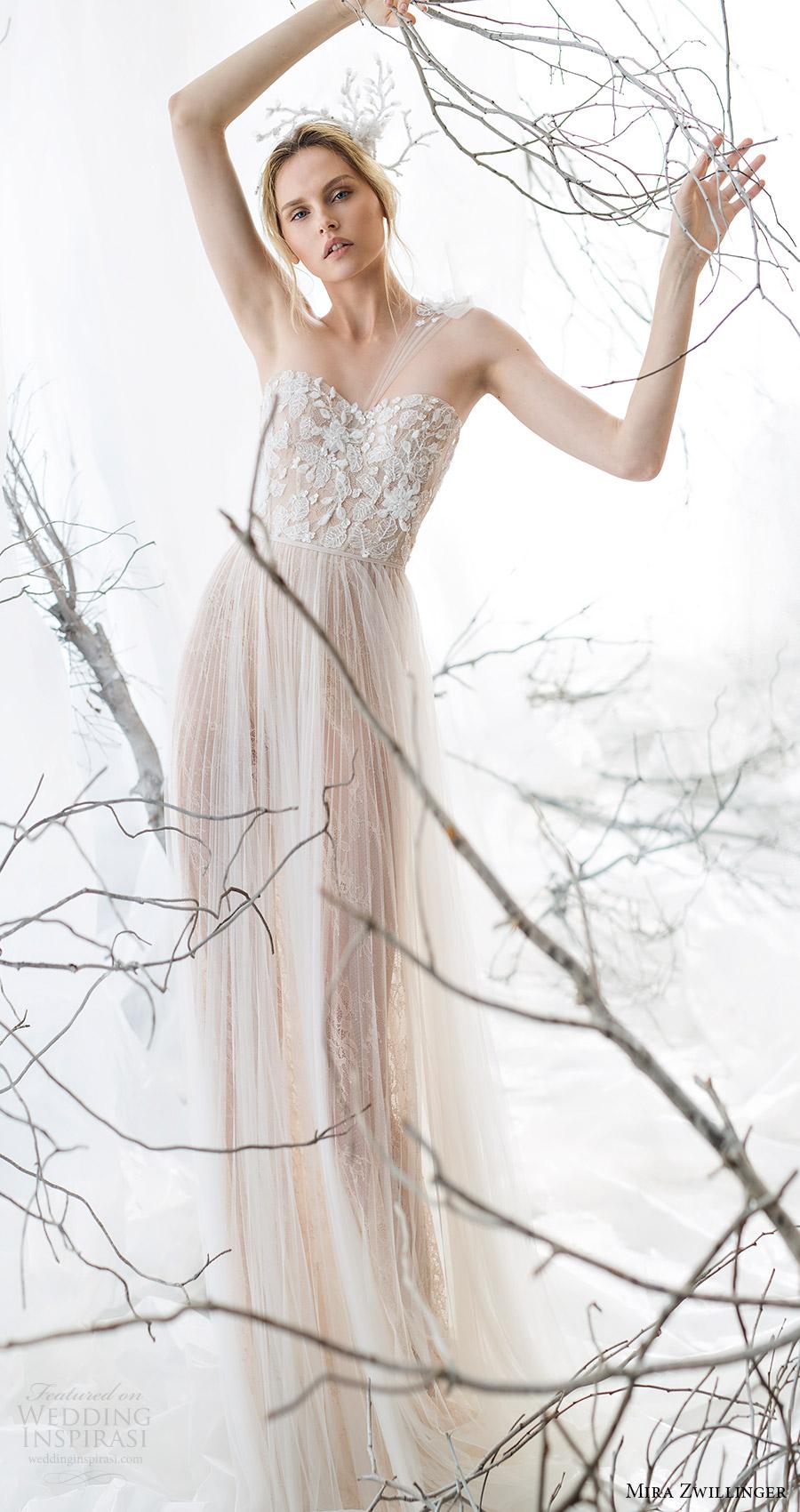 mira zwillinger bridal 2017 one shoulder strap sweetheart beaded bodice aline wedding dress (jasmine) mv nude color