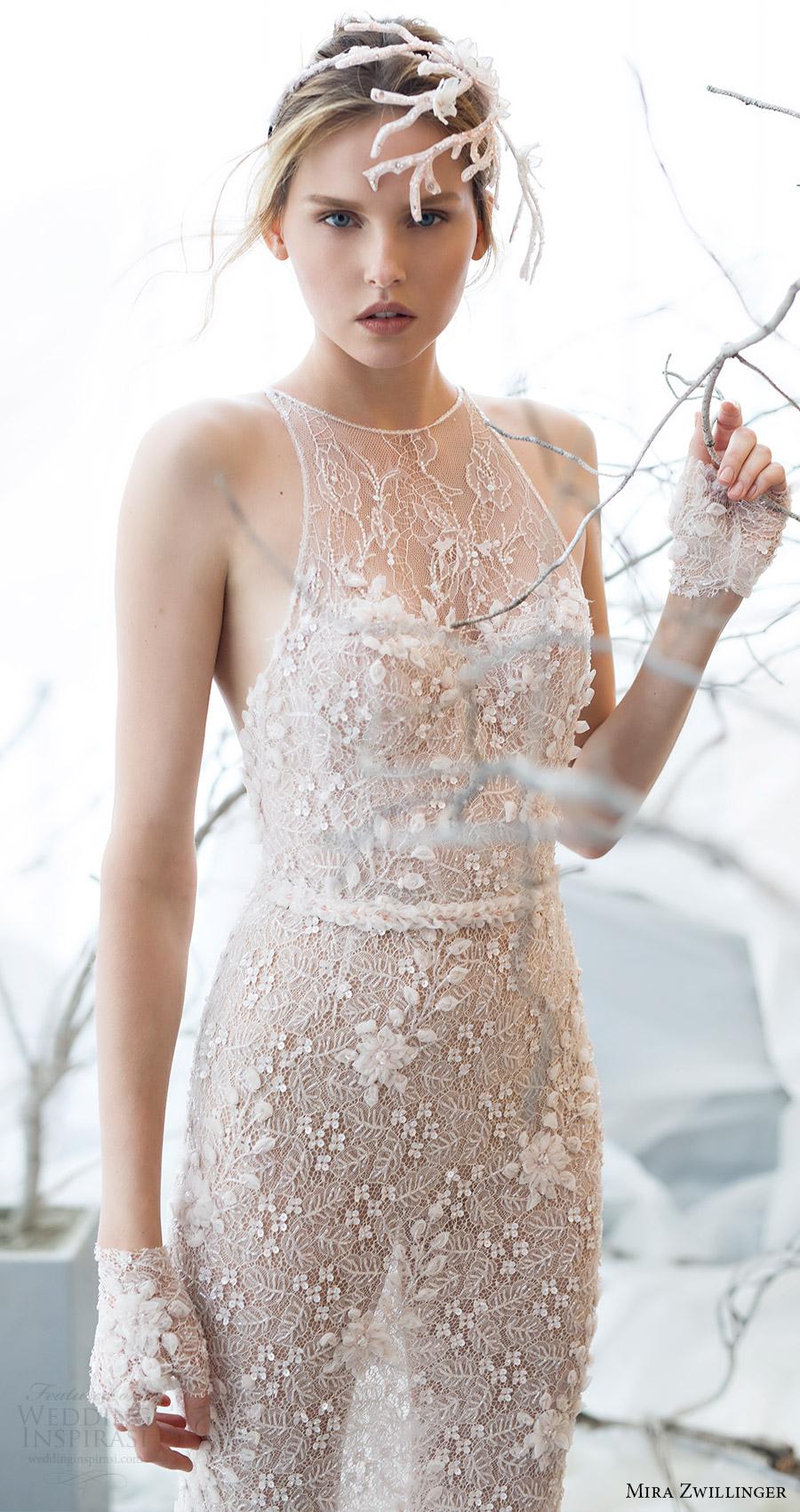 mira zwillinger bridal 2017 sleeveless illusion jewel neck sheath wedding dress (laurel) mv