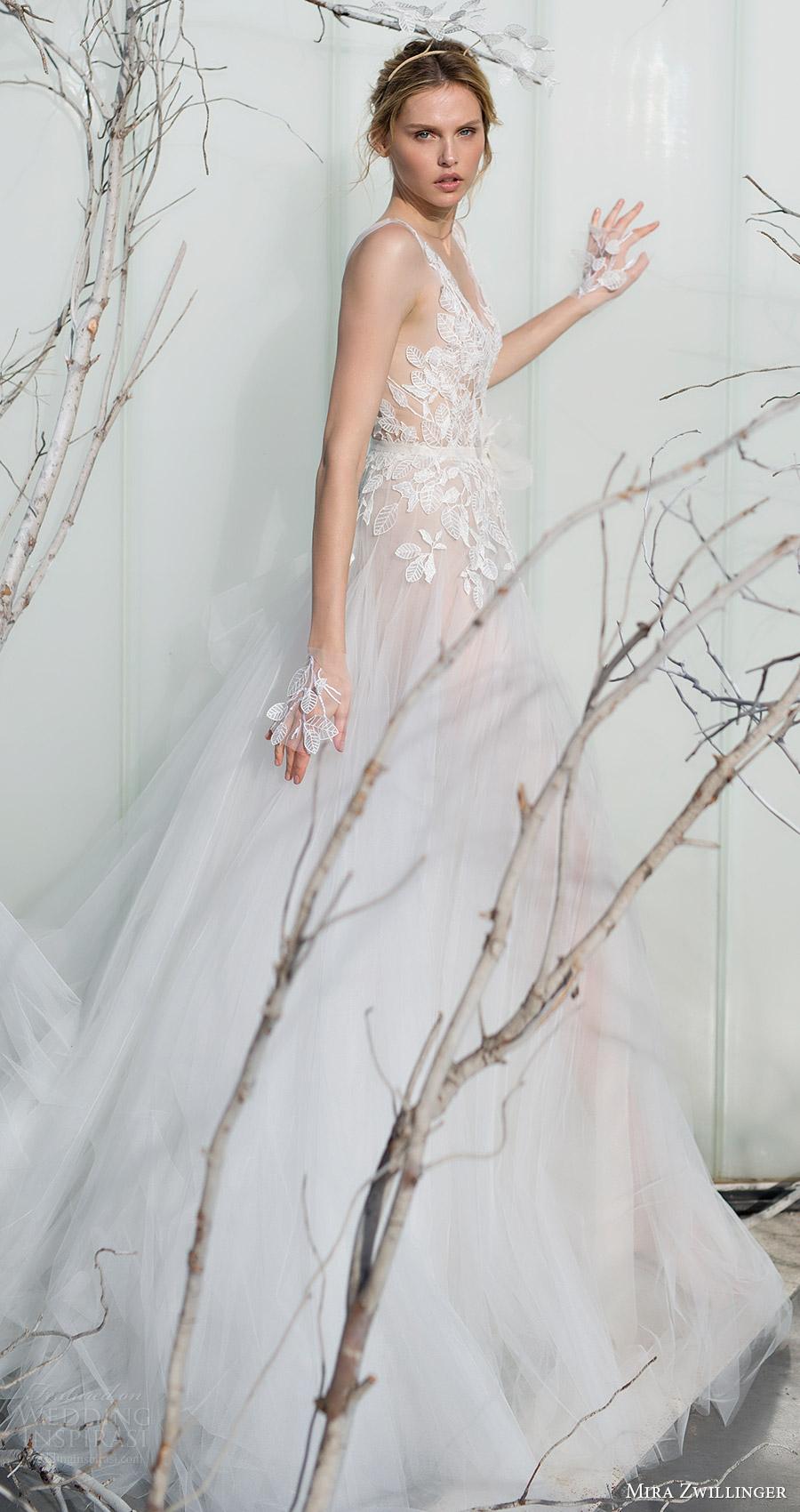 mira zwillinger bridal 2017 sleeveless illusion straps vneck aline wedding dress (fern) sv