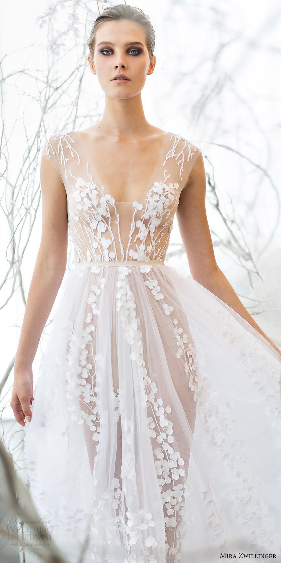 mira zwillinger bridal 2017 sleeveless vneck illusion bodice aline wedding dress (calla) fv