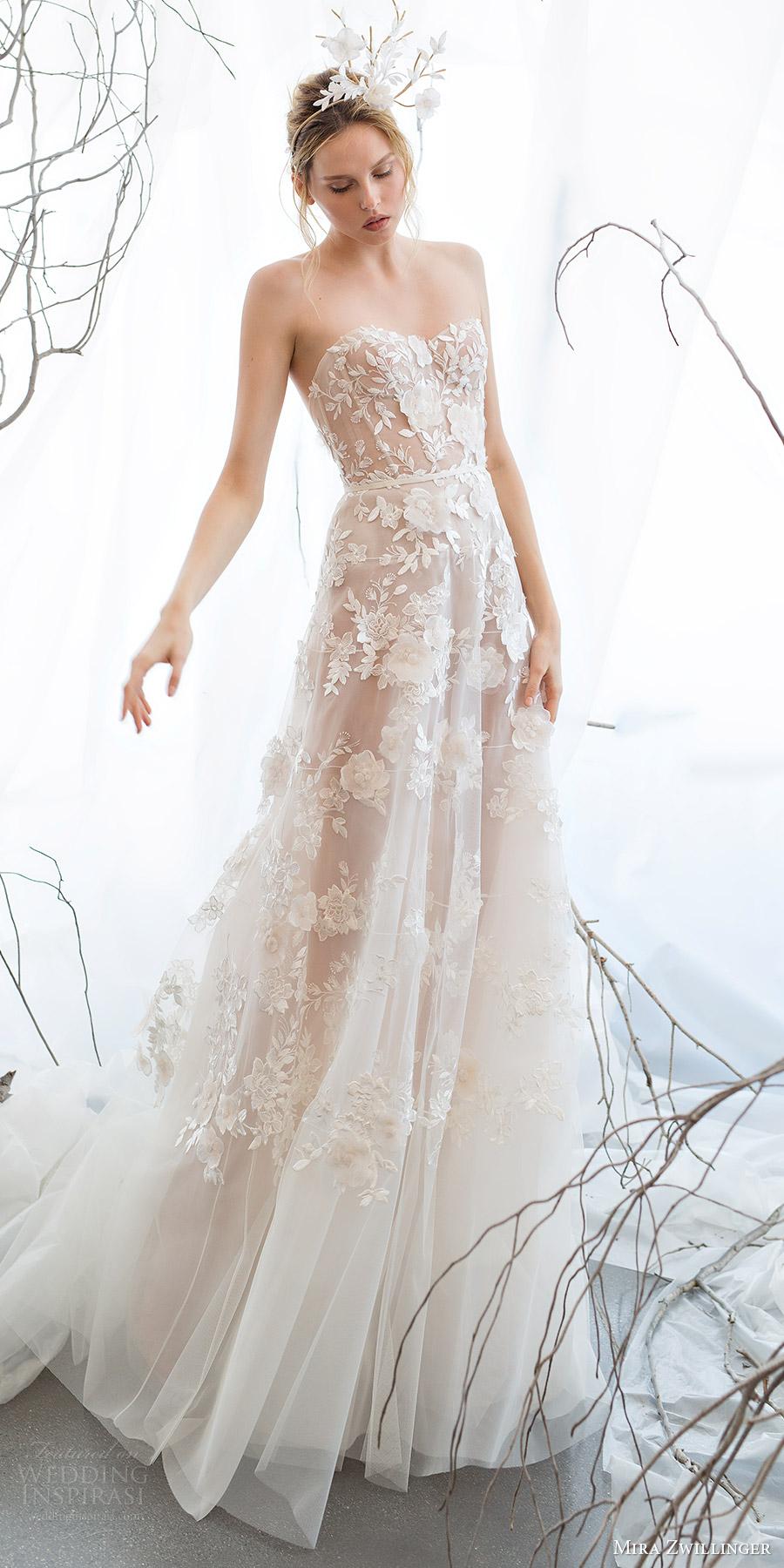 mira zwillinger bridal 2017 strapless sweetheart aline wedding dress (berrie) mv
