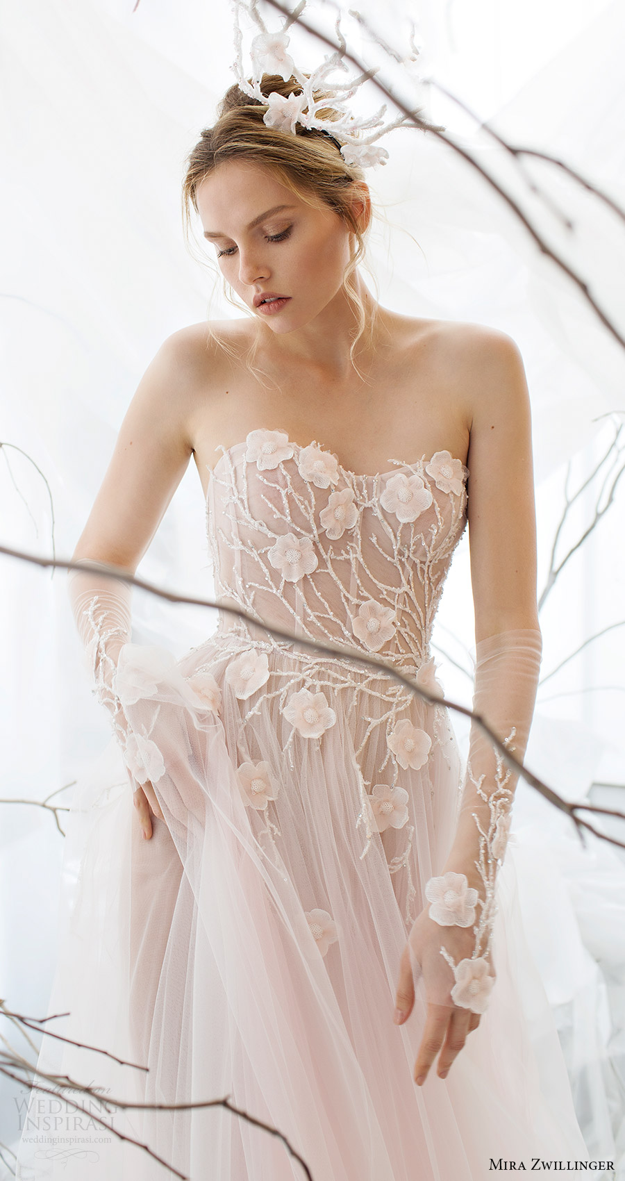 mira zwillinger bridal 2017 strapless sweetheart aline wedding dress (flora) fv