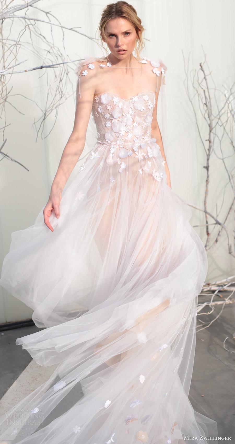 mira zwillinger bridal 2017 strapless sweetheart ball gown wedding dress (elsa) sheer cape fv