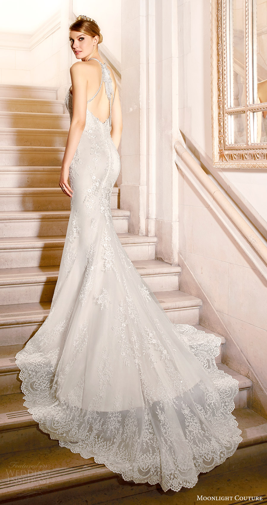 moonlight couture bridal fall 2016 sleeveless beaded halter neck lace mermaid wedding dress (h1317) bv keyhole train