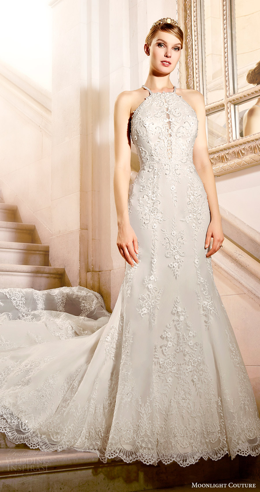 moonlight couture bridal fall 2016 sleeveless beaded halter neck lace mermaid wedding dress (h1317) mv train