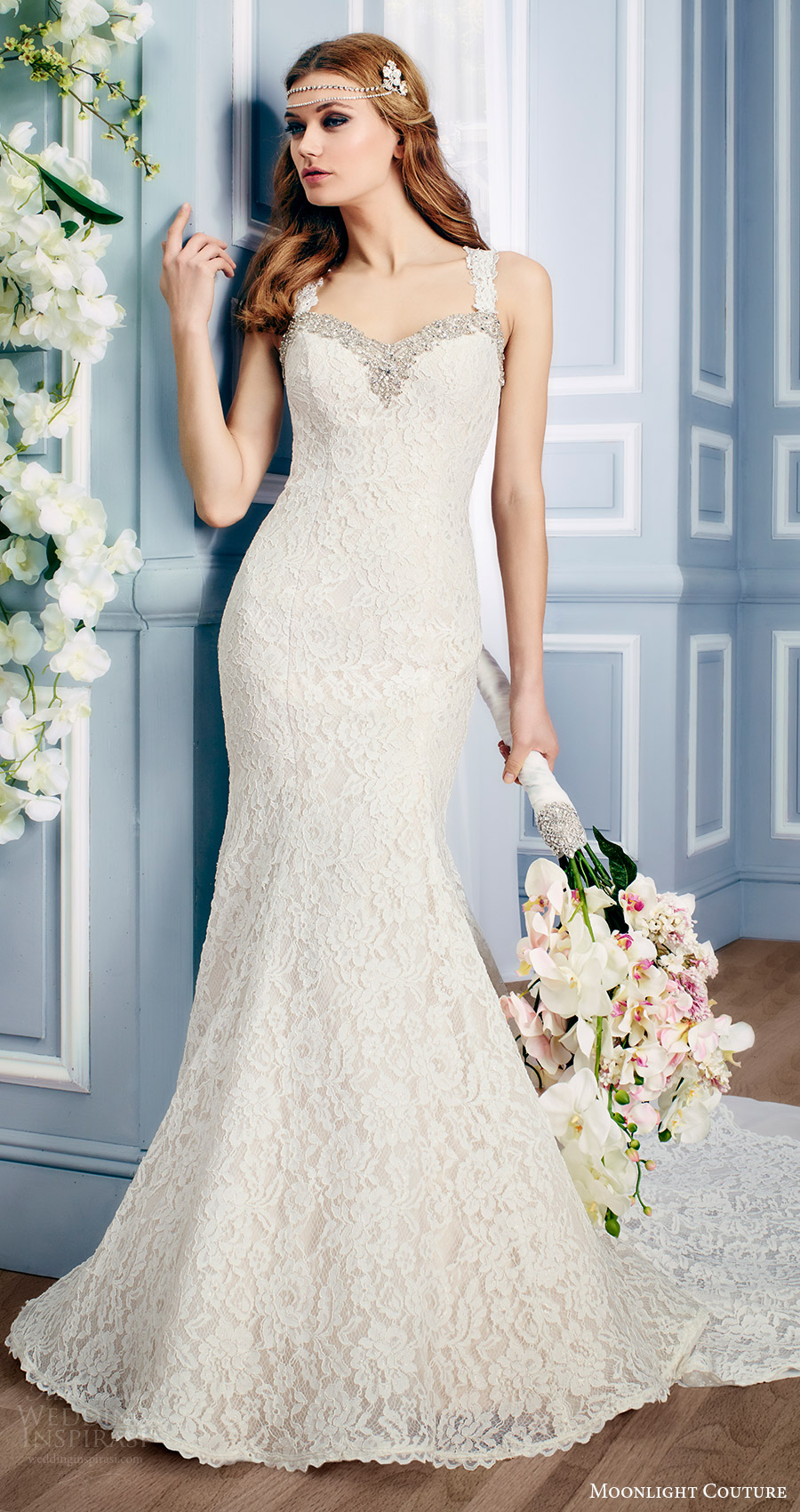 moonlight couture bridal fall 2016 sleeveless sweetheart beaded neckline thick straps lace mermaid wedding dress (h1313) mv train