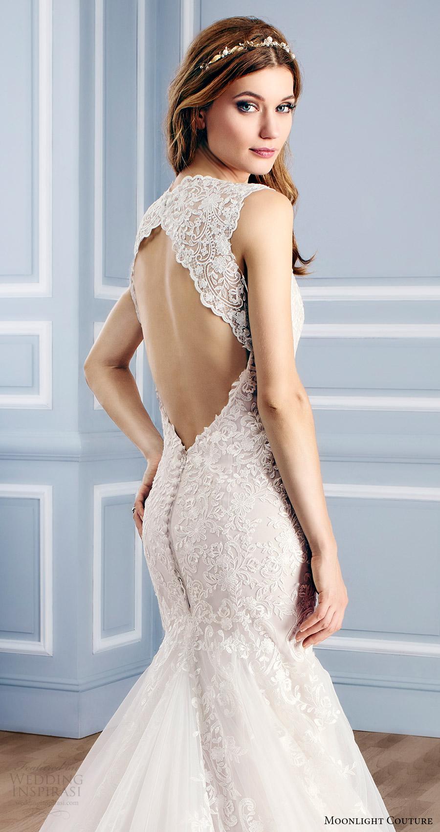 moonlight couture bridal fall 2016 sleeveless vneck lace mermaid wedding dress (h1312) zbv keyhole back train