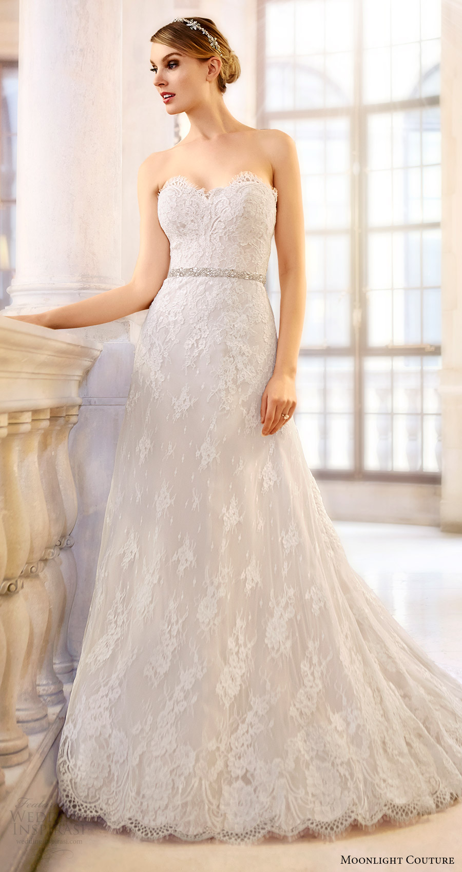 moonlight couture bridal fall 2016 strapless sweetheart aline lace wedding dress (h1313) mv