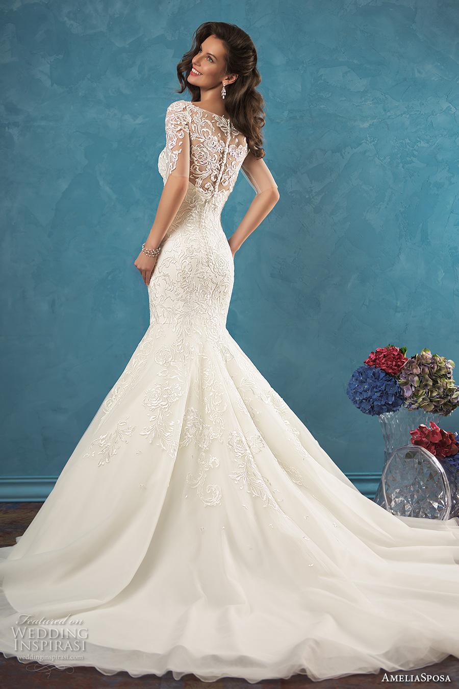 amelia sposa 2017 bridal half sleeves illusion bateau sweetheart neckline beautiful elegant mermaid wedding dress lace back cathedral train (alina) bv