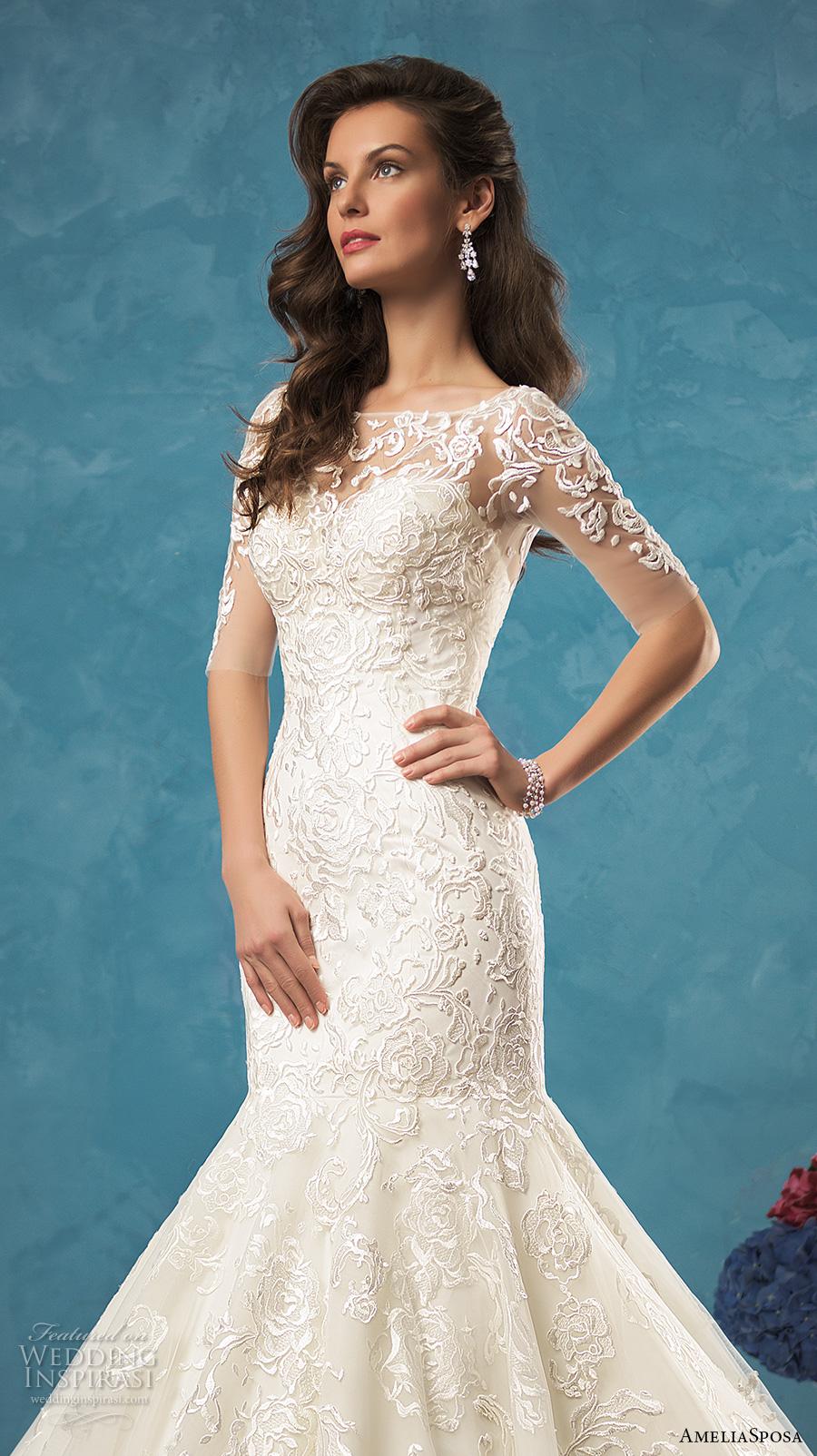 amelia sposa 2017 bridal half sleeves illusion bateau sweetheart neckline beautiful elegant mermaid wedding dress lace back cathedral train (alina) zv
