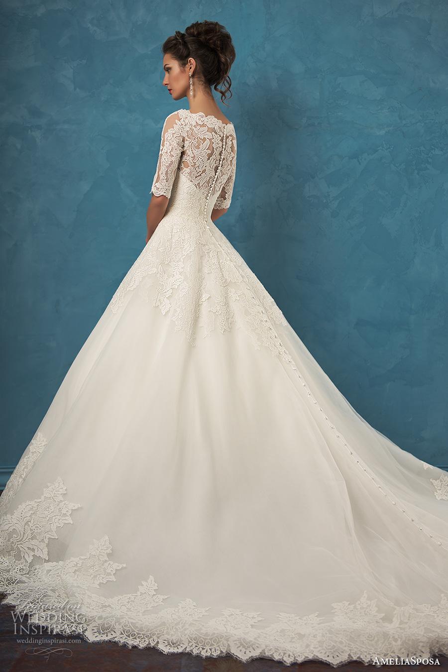 amelia sposa 2017 bridal half sleeves scallop lace v neck heavily embellished bodice romantic a  line wedding dress illusion lace back royal train (patrizia) sdv