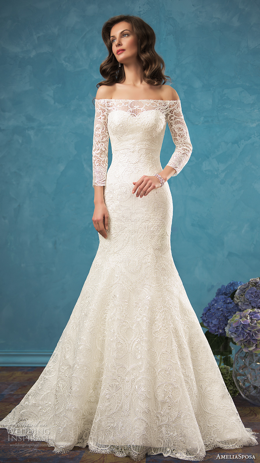 1b42f2ba9f7 amelia sposa 2017 bridal long sleeves illusion off the shoulder sweetheart  neckline fully embellished bodice romantic