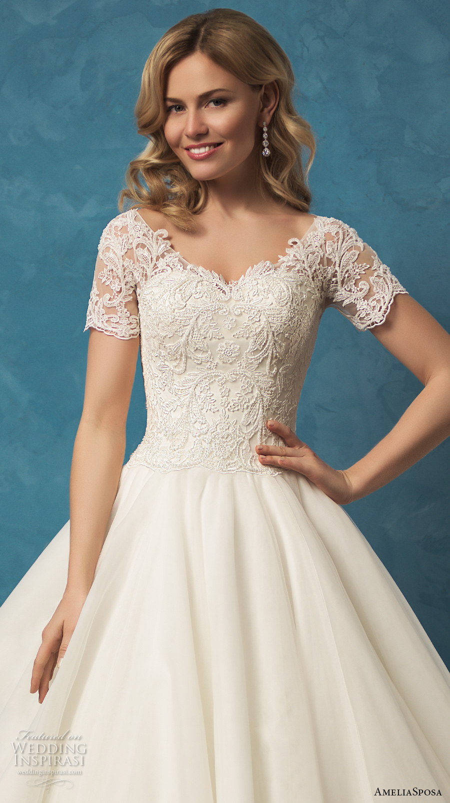 amelia sposa 2017 bridal short sleeves heavily embellished bodice princess ball gown wedding dress chapel train lace back (alyssa) zv