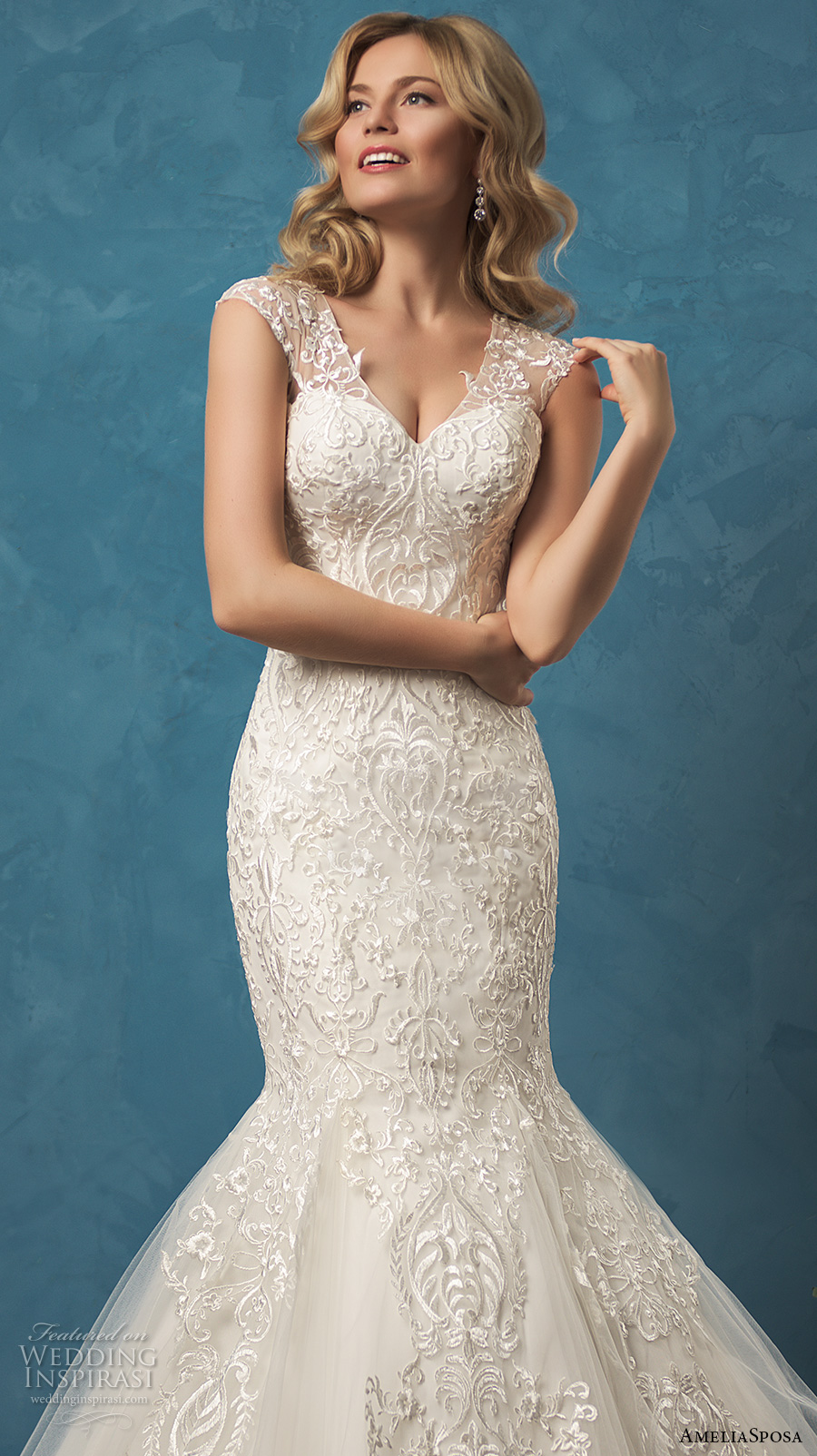 1ed492ff26 amelia sposa 2017 bridal sleeveless sheer lace thick strap v neck heavily  embellished bodice beautiful romantic