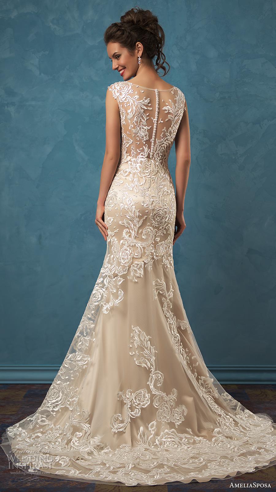 amelia sposa 2017 bridal sleeveless sheer lace thick strap v neck heavily embellished bodice elegant sheath wedding dress sheer lace back sweep train (olivia) bv