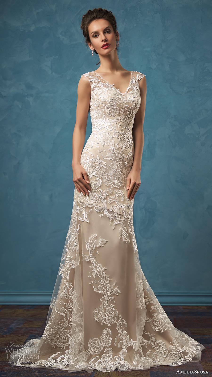amelia sposa 2017 bridal sleeveless sheer lace thick strap v neck heavily embellished bodice elegant sheath wedding dress sheer lace back sweep train (olivia) mv