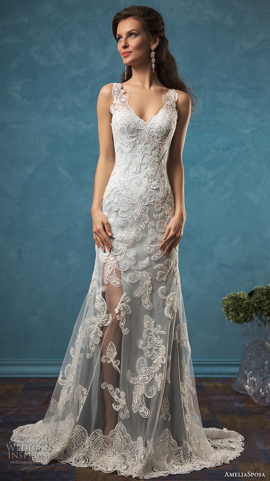 amelia sposa 2017 bridal sleeveless v neck full embellishement elegant sheath lace wedding dress illusion back sweep train (damiana) mv