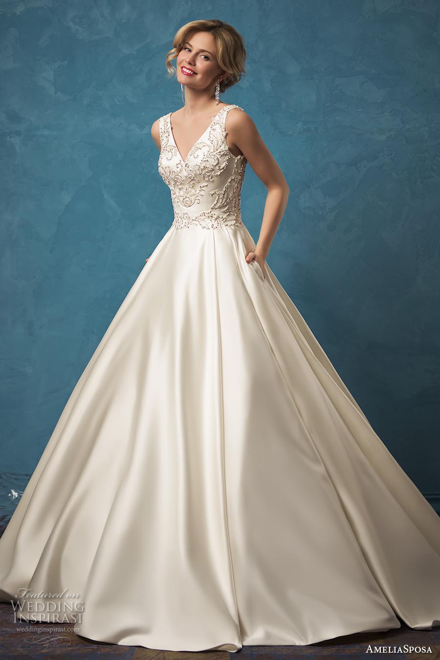 amelia sposa 2017 bridal sleeveless v neck heavily embellished bodice classic silk a  line wedding dress with pockets sheer lace back cathedral train (noemi) mv