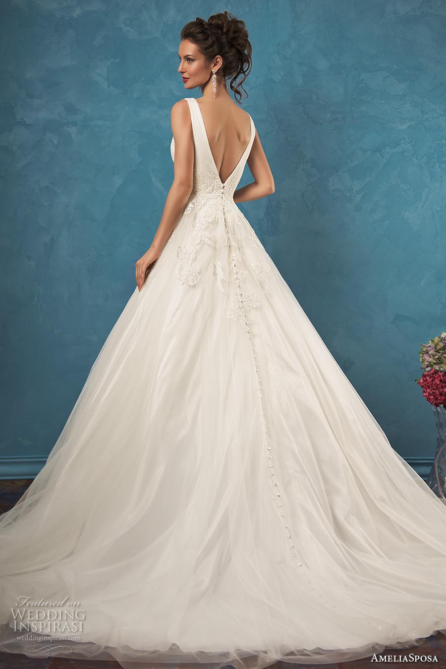 amelia sposa 2017 bridal sleeveless v neck heavily embellished bodice pretty princess a  line ball gown wedding dress v back chapel train (emma) bv