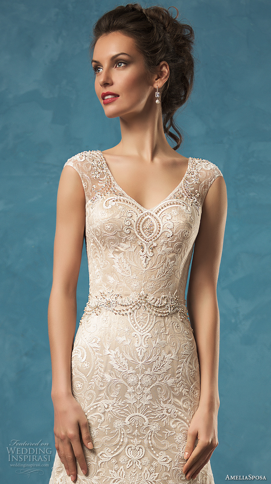 amelia sposa 2017 bridal sleeveless wide lace strap v neck fully embellished gorgeous beautiful a  line lace wedding dress lace illusion back chapel train (adele) zv