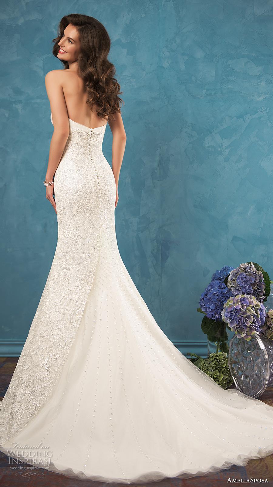 amelia sposa 2017 bridal strapless sweetheart neckline fully embellished bodice romantic sexy beautiful mermaid trumpet wedding dress chapel train (celia) bv