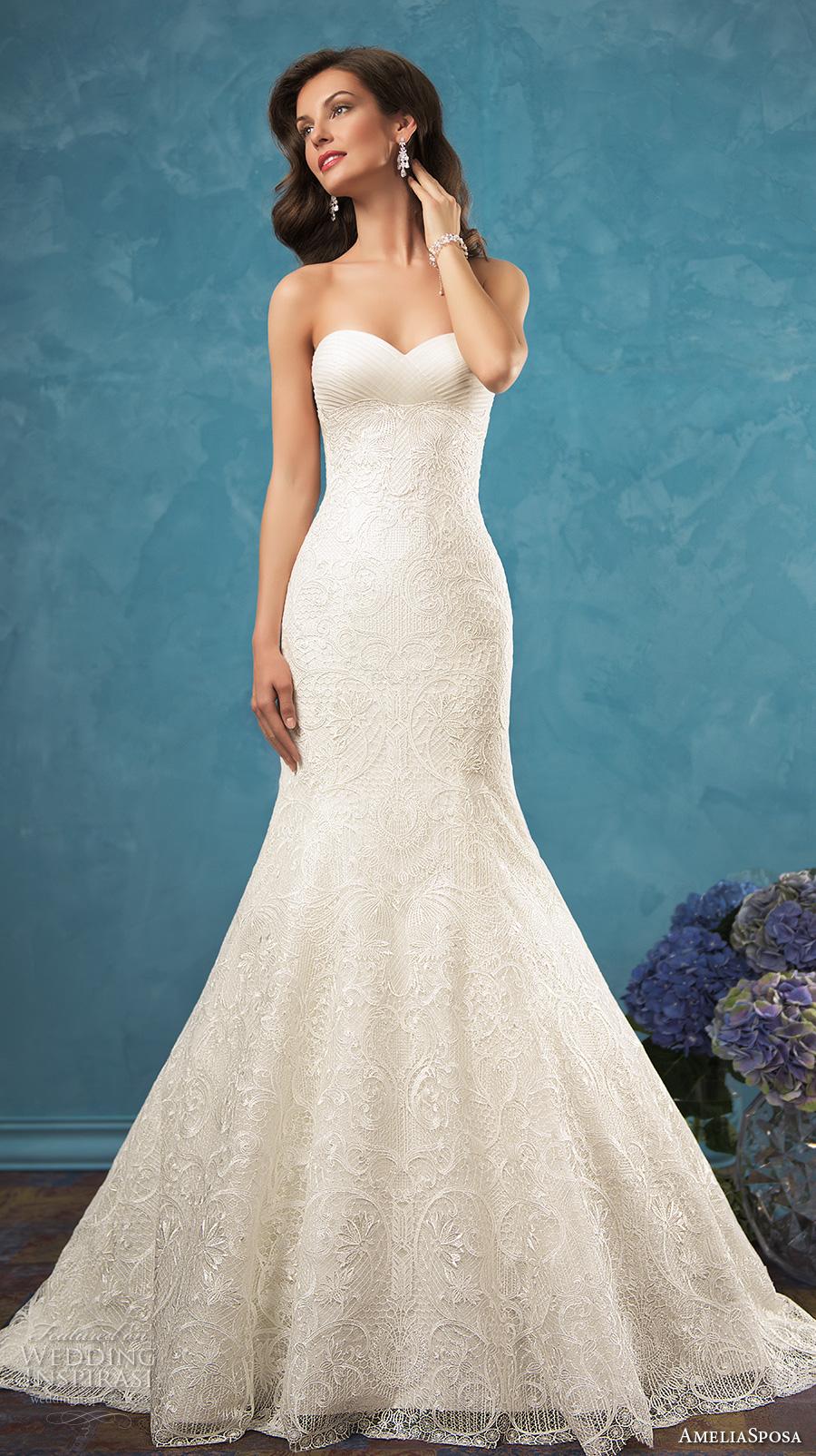 amelia sposa 2017 bridal strapless sweetheart neckline fully embellished bodice romantic sexy beautiful mermaid trumpet wedding dress chapel train (celia) mv
