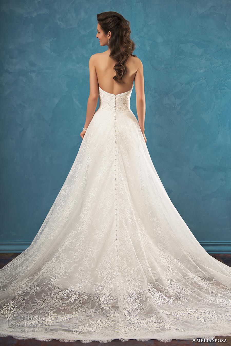 amelia sposa 2017 bridal strapless sweetheart neckline heavily embellished bodice elegant beautiful modified a  line wedding dress low back chapel train (bruna) bv