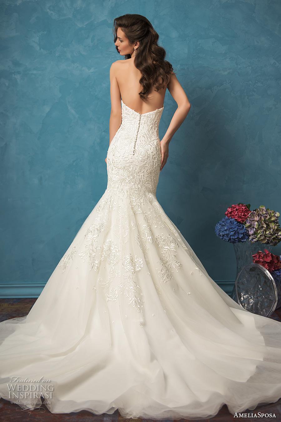 amelia sposa 2017 bridal strapless sweetheart neckline heavily embellished bodice gorgeous elegant mermaid wedding dress low back cathedral train (alina) bv