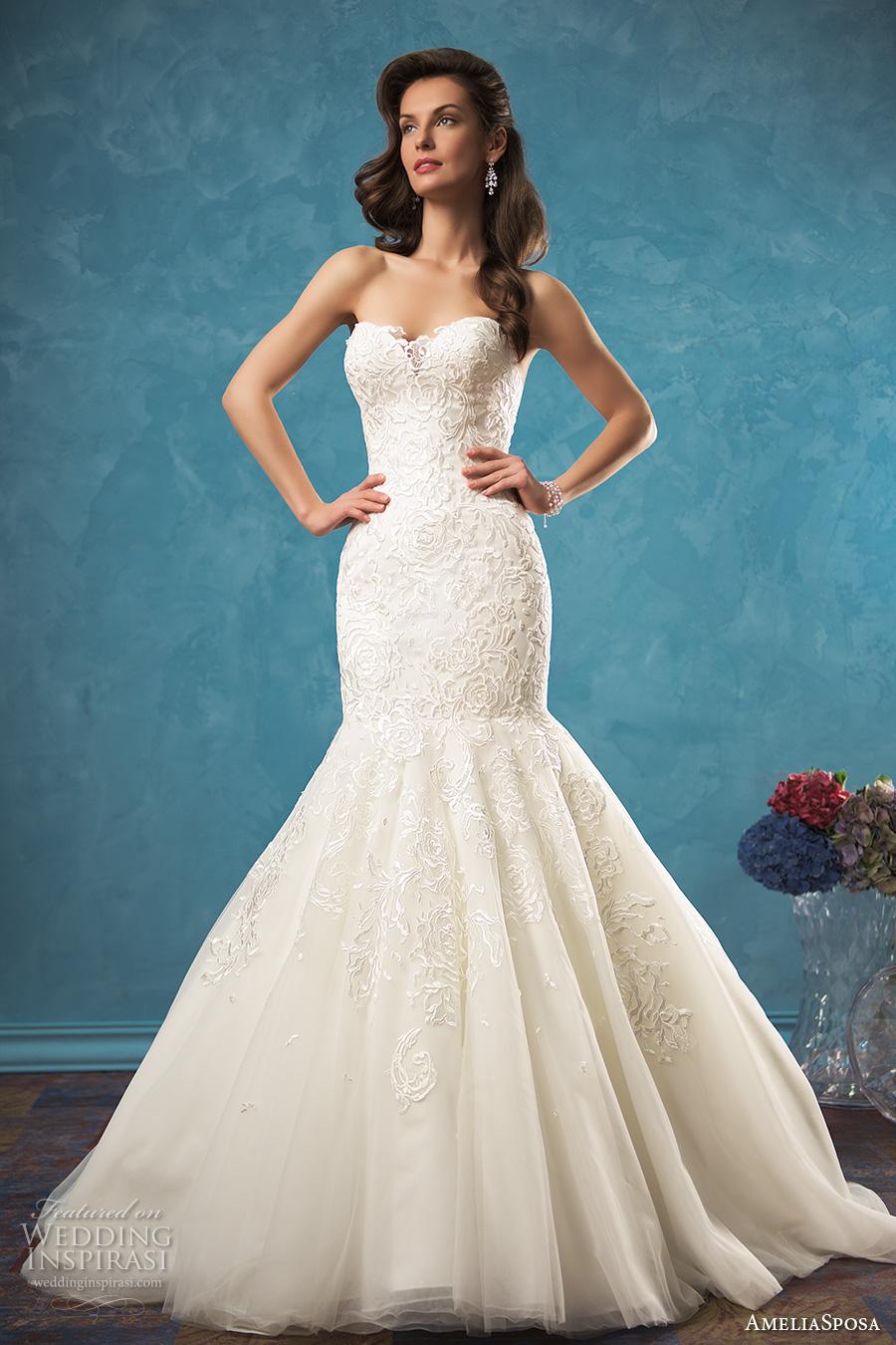 amelia sposa 2017 bridal strapless sweetheart neckline heavily embellished bodice gorgeous elegant mermaid wedding dress low back cathedral train (alina) mv