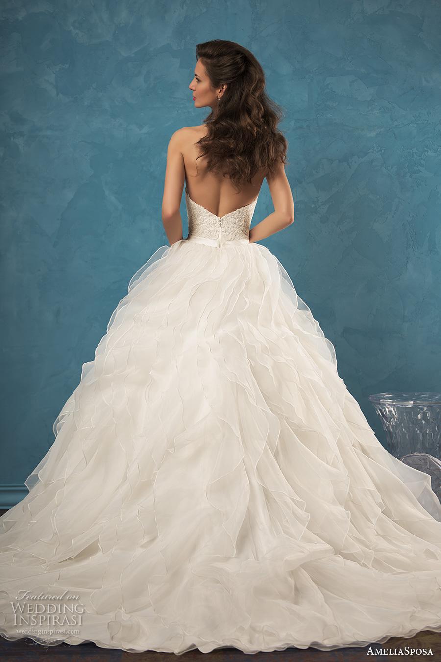 amelia sposa 2017 bridal strapless sweetheart neckline heavily embellished bodice pretty romantic ruffle ball gown wedding dress low back chapel train (palmira) bv