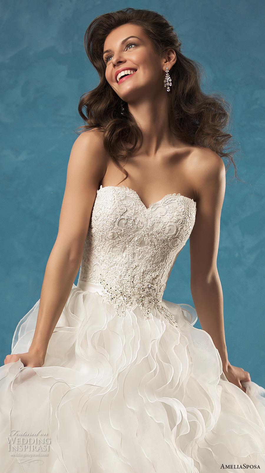 amelia sposa 2017 bridal strapless sweetheart neckline heavily embellished bodice pretty romantic ruffle ball gown wedding dress low back chapel train (palmira) zv