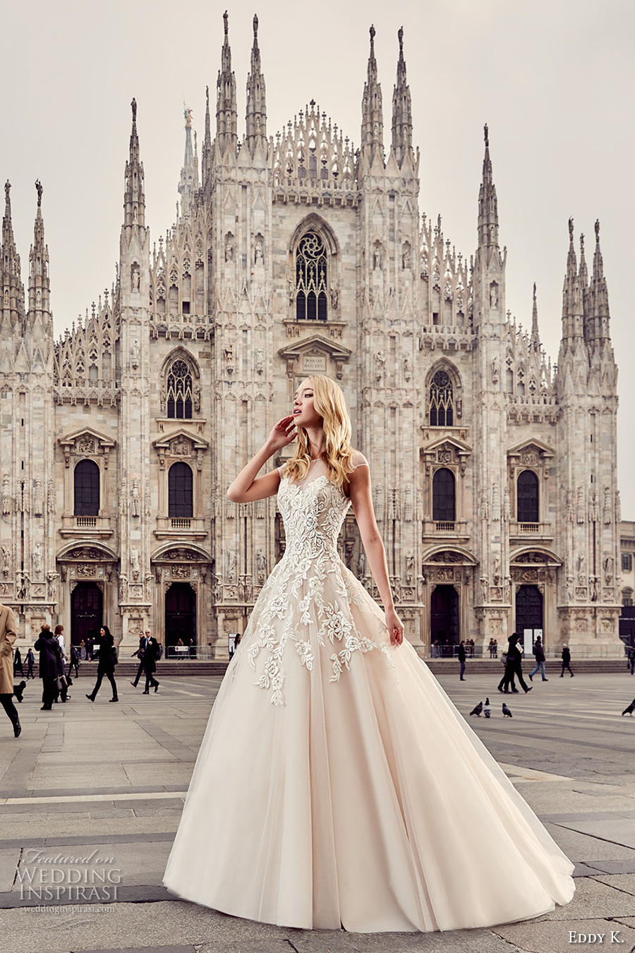 eddy k milano bridal 2017 cap sleeves illusion round neck heavily embellished bodice romantic a  line ball gown wedding dress (md231) royal train mv