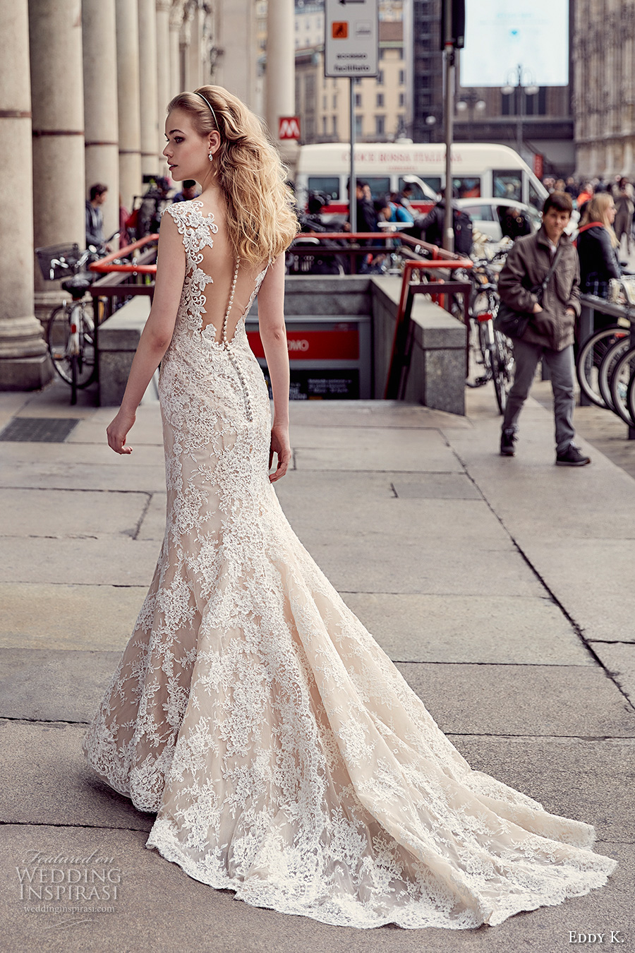 eddy k milano bridal 2017 cap sleeves scalloped v neck full embellishment elegant mermaid wedding dress sheer low back chapel train (md222) bv