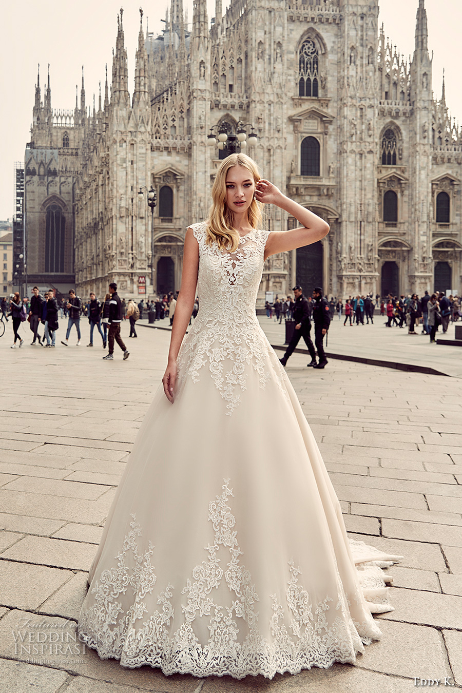 eddy k milano bridal 2017 cap sleeves scoop neckline heavily embellished bodice embellished hem a  line romantic ball gown wedding dress long train lace back (md213) mv