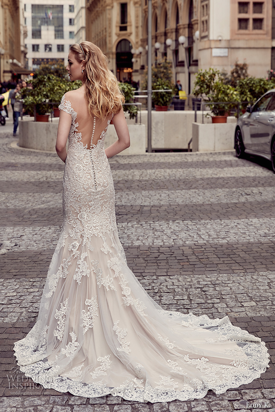 eddy k milano bridal 2017 cap sleeves sweetheart neckline fully embellishment gorgeous beautiful elegant mermaid wedding dress sheer low back chapel train (md233) bv