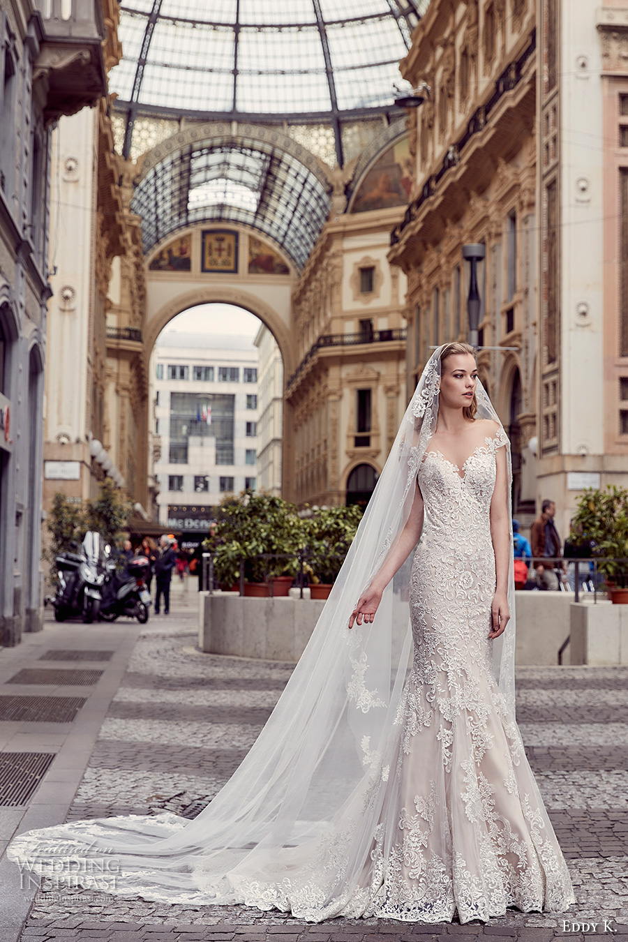 eddy k milano bridal 2017 cap sleeves sweetheart neckline fully embellishment gorgeous beautiful elegant mermaid wedding dress sheer low back chapel train (md233) mv
