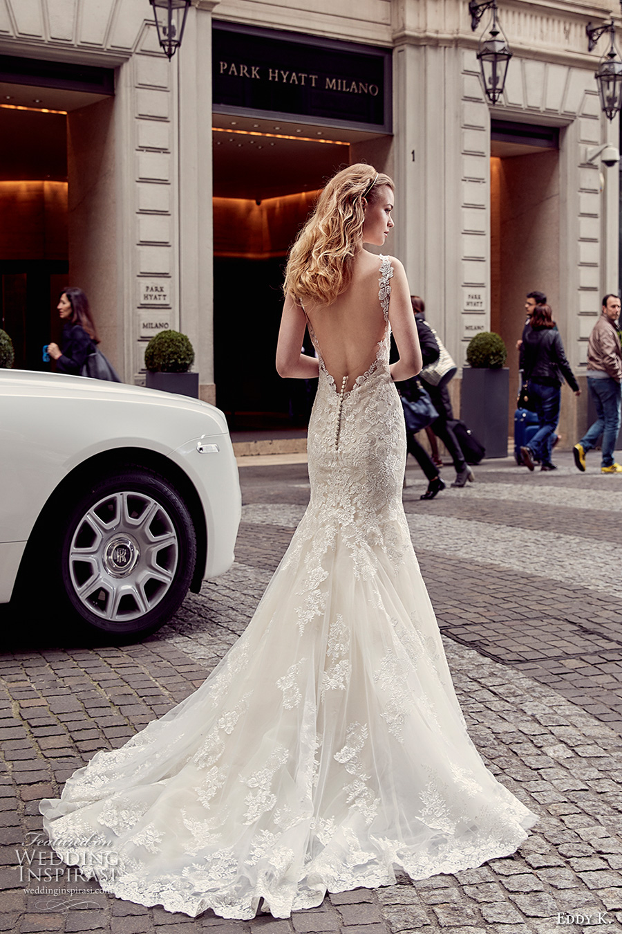 eddy k milano bridal 2017 lace strap v neck heavily embellished bodice elegant mermaid wedding dress low back chapel train (md219) bv