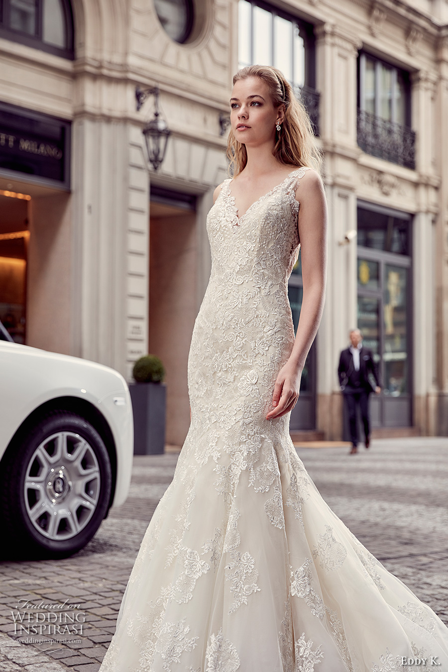 eddy k milano bridal 2017 lace strap v neck heavily embellished bodice elegant mermaid wedding dress low back chapel train (md219) zv