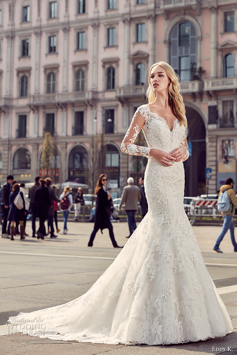 eddy k milano bridal 2017 sheer lace long sleeves deep plunging neckline heavily embellished bodice elegant mermaid wedding dress low back chapel train (md218) mv