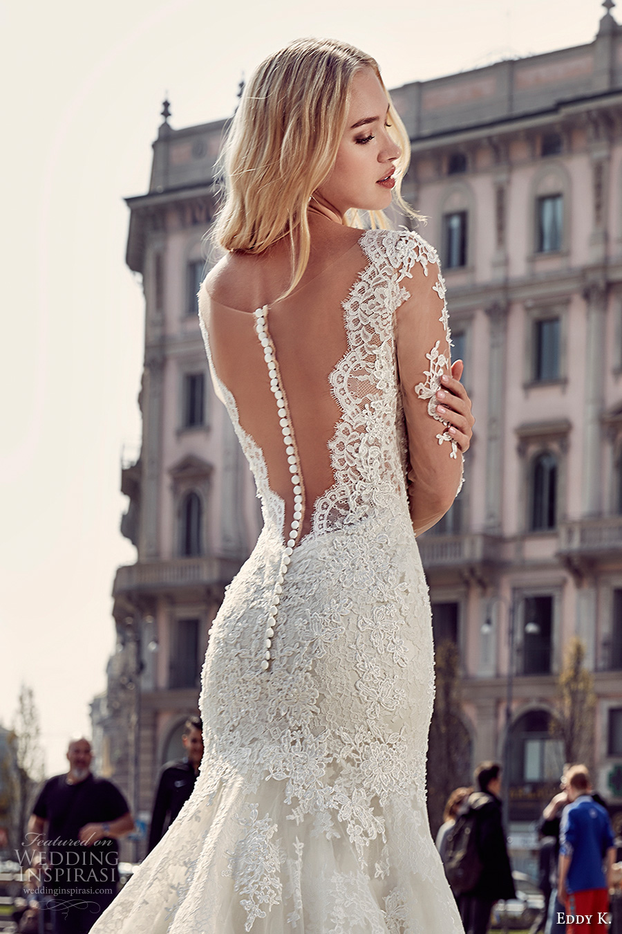 eddy k milano bridal 2017 sheer lace long sleeves deep plunging neckline heavily embellished bodice elegant mermaid wedding dress low back chapel train (md218) zbv