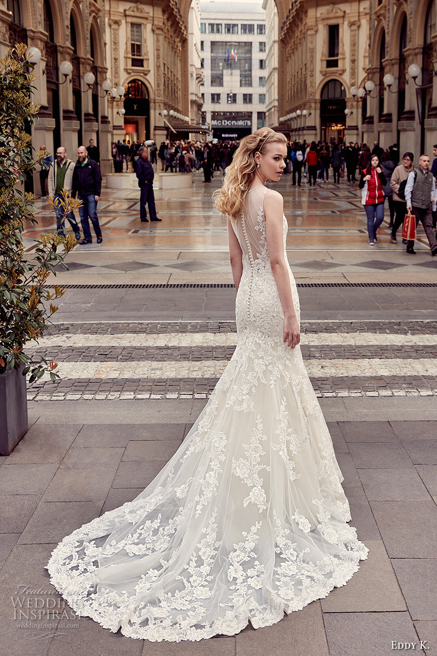 eddy k milano bridal 2017 sleeveless illusion round neck sweetheart neckline fully embellished elegant mermaid wedding dress sheer back chapel train (md215) bv