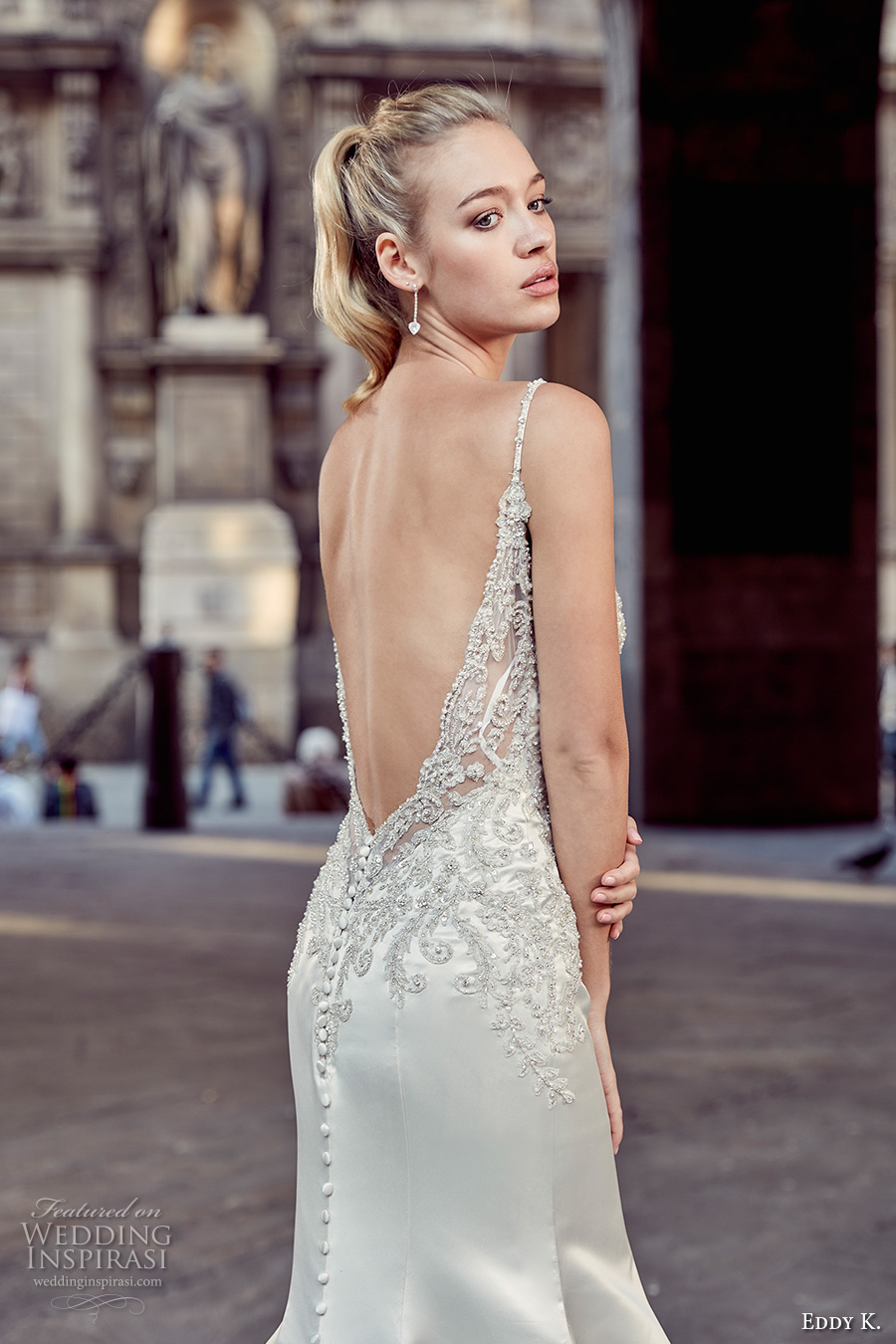 eddy k milano bridal 2017 sleeveless spagetti strap v neck heavily embellished bodice satin elegant mermaid wedding dress chapel train low back (md212) zbv