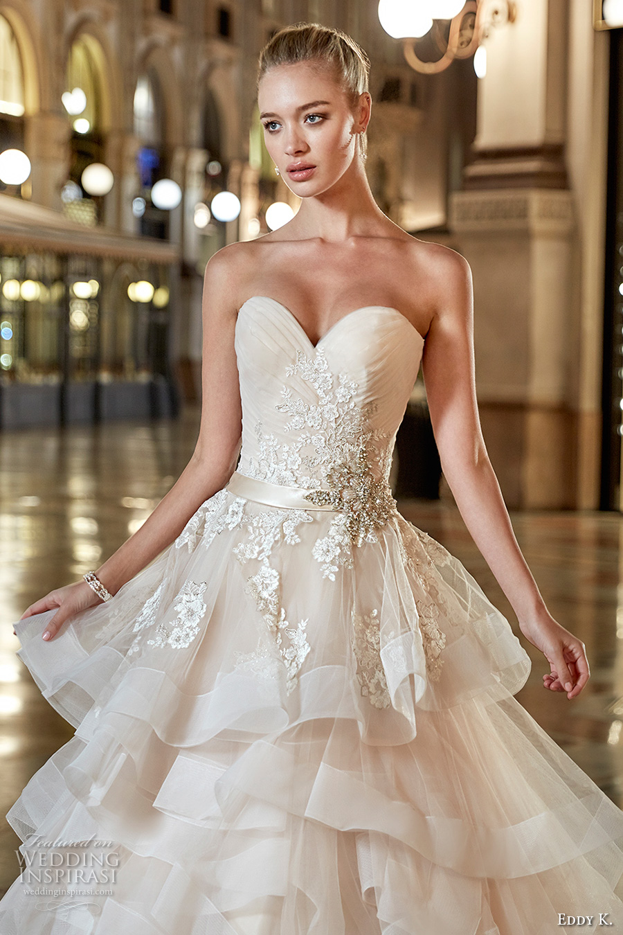 eddy k milano bridal 2017 sleeveless strapless sweetheart neckline heavily embellished bodice beautiful princess romantic tiered horsehair ball gown wedding dress sweep train (md210) zv