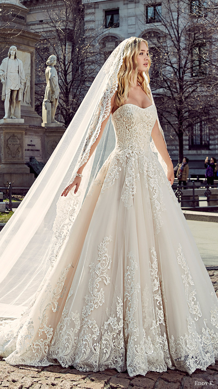eddy k milano bridal 2017 sleeveless sweetheart lace ball gown wedding dress (md197) fv train veil