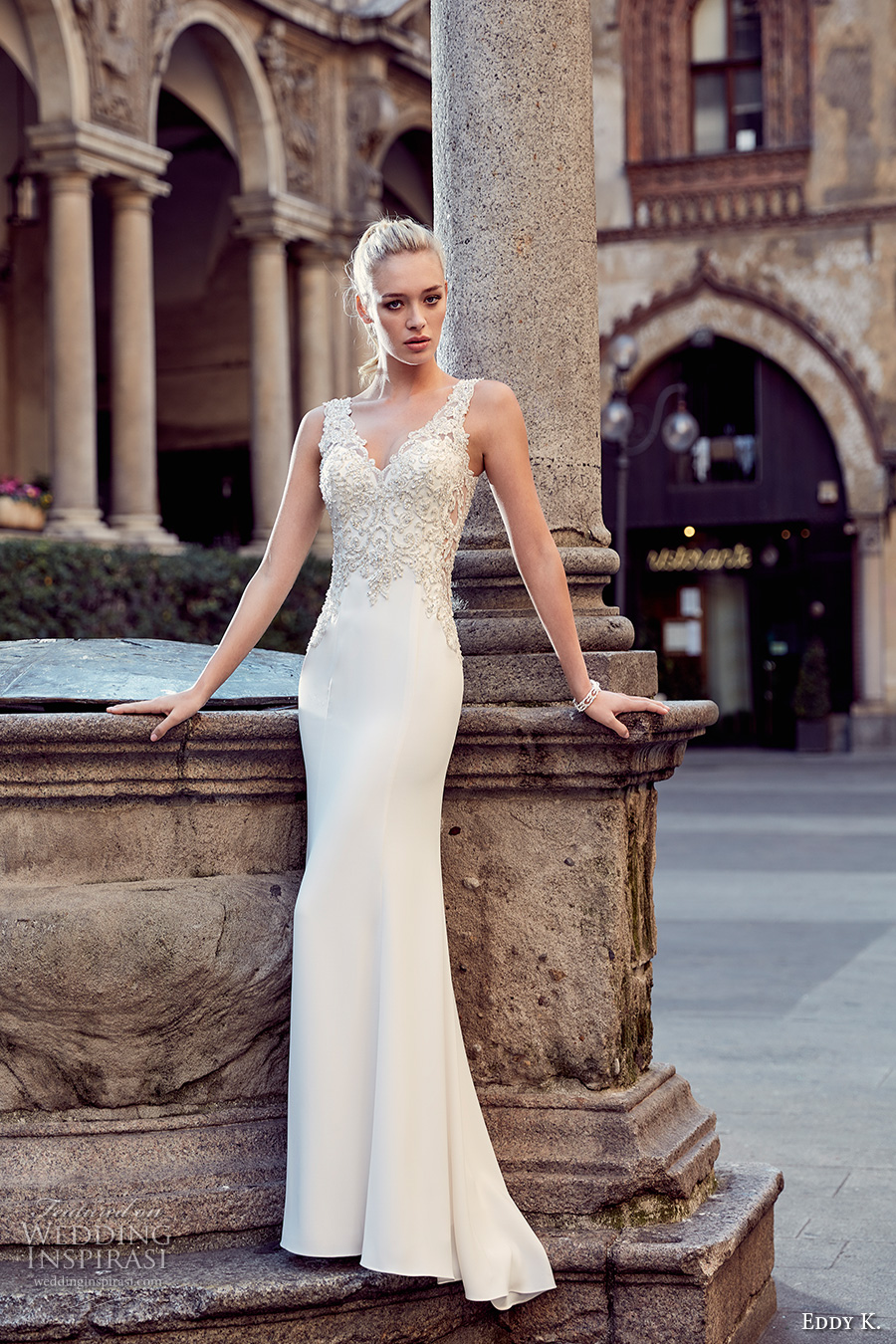 eddy k milano bridal 2017 sleeveless thick strap v neckline heavily embellished bodice elegant sheath wedding dress v back (md225) mv