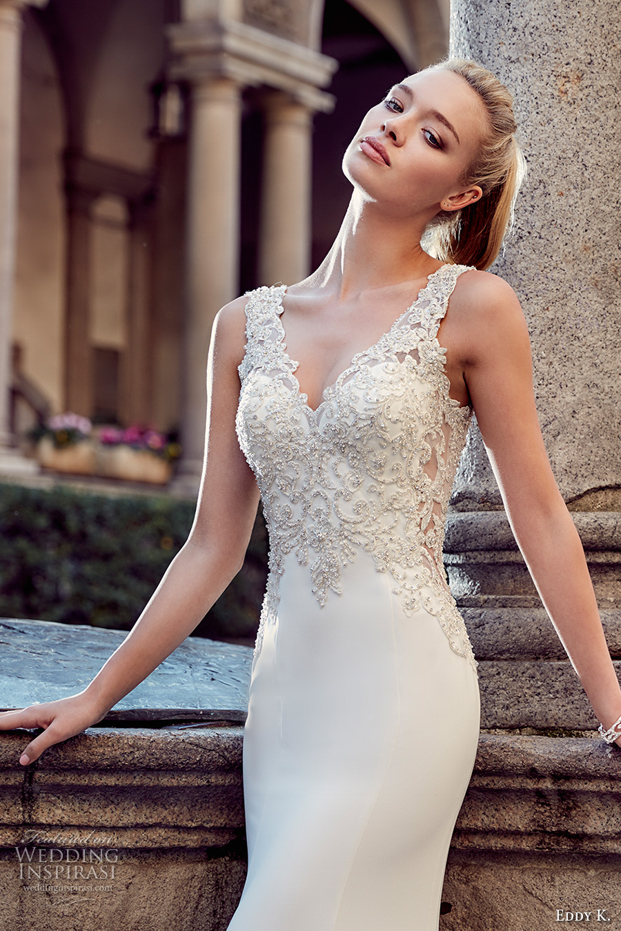 eddy k milano bridal 2017 sleeveless thick strap v neckline heavily embellished bodice elegant sheath wedding dress v back (md225) zv