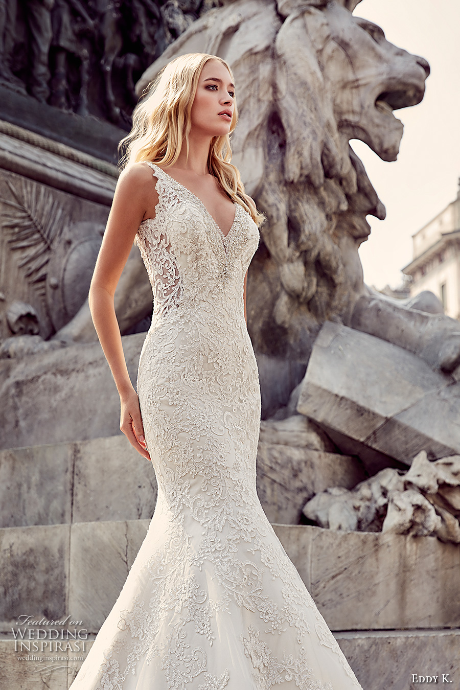 eddy k milano bridal 2017 sleeveless v neck fully embellishment elegant gorgeous mermaid wedding dress low back chapel train (md220) zv